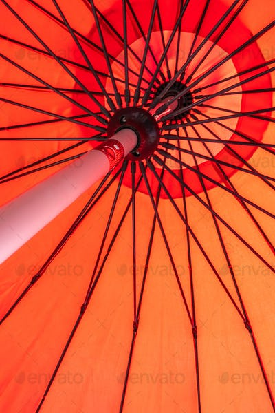 Red umbrella abstract textures and surface