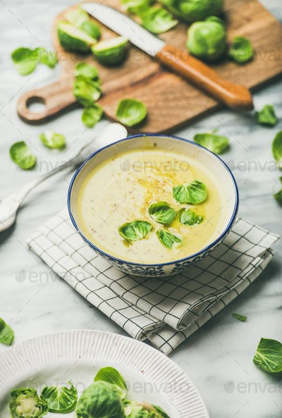 Brussels sprouts vegetable cream soup in bowl