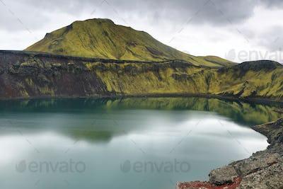 Hnausapollur volcanic crater lake