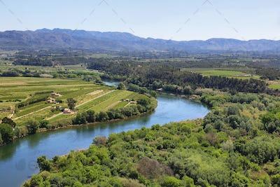 Ebro river Miravet castle in Catalonia