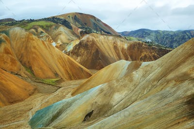 Multicolored mountains at Landmannalaugar,
