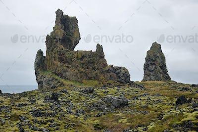 Two major basalt formations at Londrangar