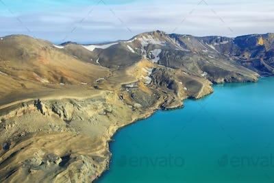 Aerial view of lake Lake Oskjuvat