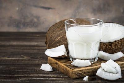 Coconut milk in glass, Vegan milk