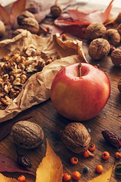 Apple and walnut, autumn abundance