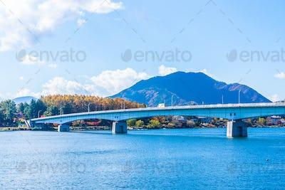 Beautiful landscape around lake kawaguchiko in Yamanashi Japan