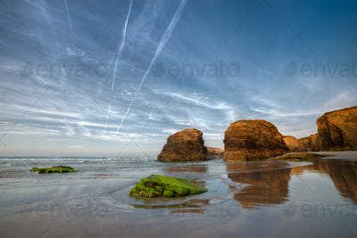 Sunset on the beach of Las Catedrales