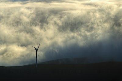 Wind turbine in the fog
