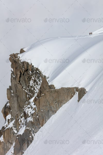 Climbers on the Mont Blanc massif, France