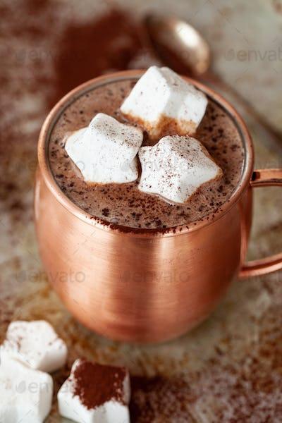 Hot chocolates with marshmallows