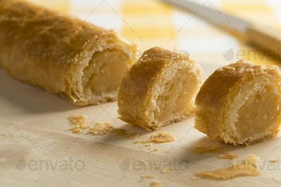 Dutch pastry with almond filling close up