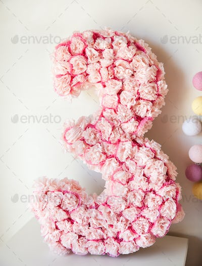 number 3 made from rose