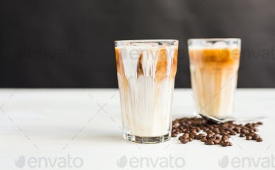 Delicious drink concept - Iced coffee in a glass with ice.