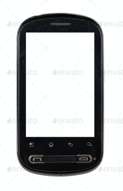 Touch screen smartphone isolated on white background