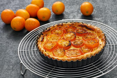 kumquat tart, homemade dessert