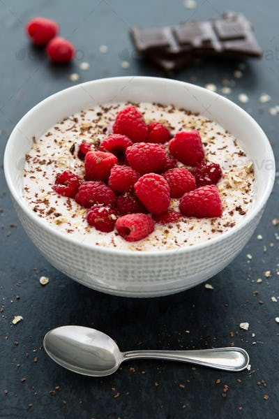 Yogurt With Raspberries And Chocolate