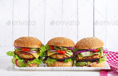 Tasty grilled homemade hamburger with burger chicken, tomato, cheese, cucumbe