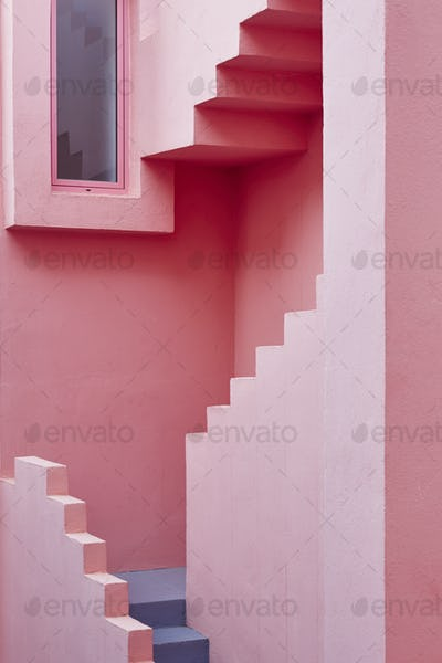 Geometric building detail. The red wall, La manzanera. Calpe, Spain