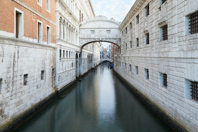 Bridge of Sighs, wide angle view in the morning in Venice