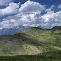 Mountain landscape along the road to Colle dell'Assietta