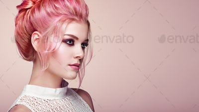 Blonde girl with elegant and shiny hairstyle