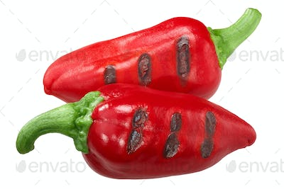 Grilled red chili peppers, paths