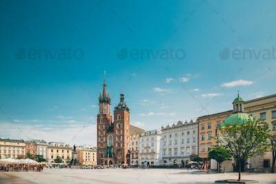 Krakow, Poland. St. Mary's Basilica And Cloth Hall Building. Fam