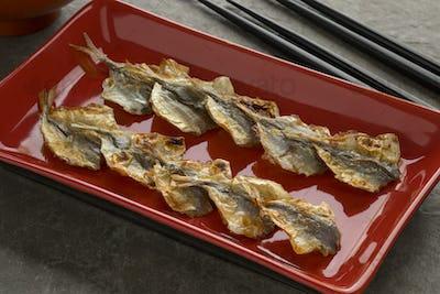 Japanese grilled horse mackerel snack