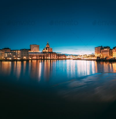 Helsinki, Finland. View Of Embankment With Uspenski Cathedral In