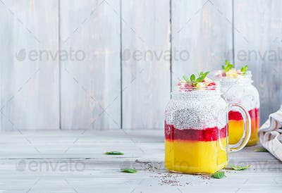 Chia seed pudding in jar with mango. Healthy breakfast. Sweet healthy dessert.