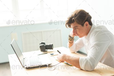 People, working and graphic tablet - young graphic designer in home office working on laptop