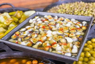 Olives stuffed with fish and anchovies