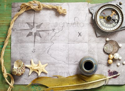 Vintage Map, Compass, Magnifier