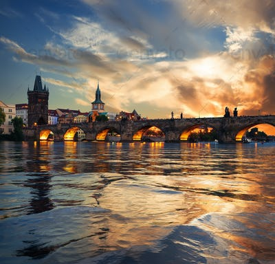 Fiery sunset in Prague