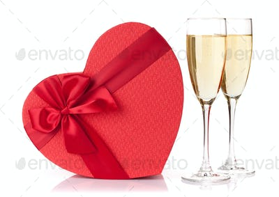Valentines day gift and champagne glasses