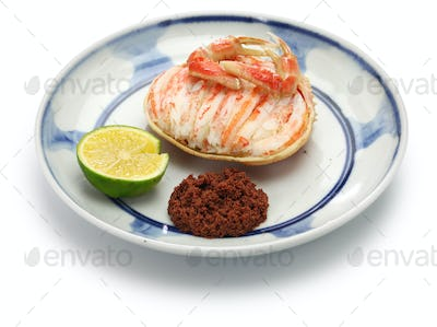 Seko gani, steamed female snow crab meat and egg stuffed on crab shell, Japanese food