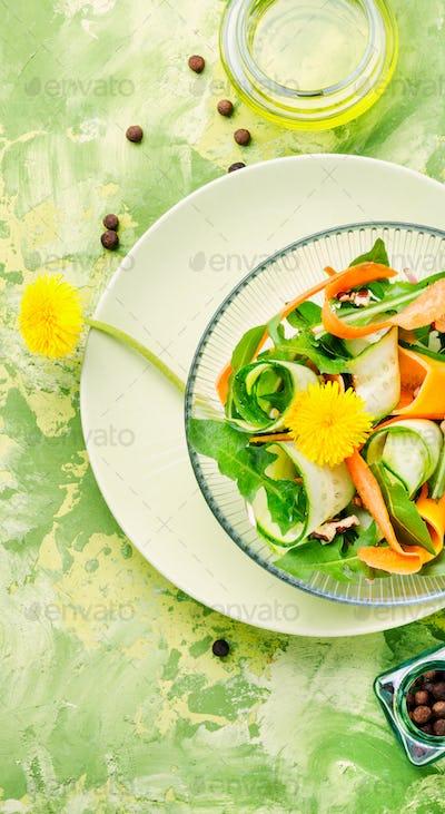 Fresh dandelion salad