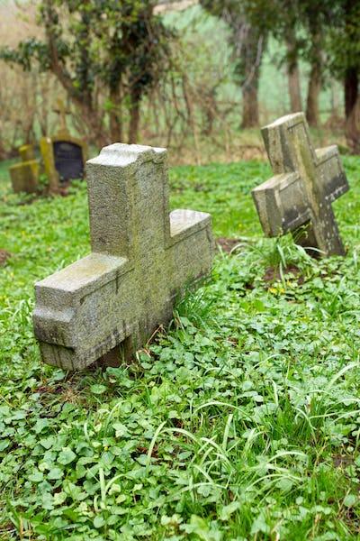 Two stone crosses