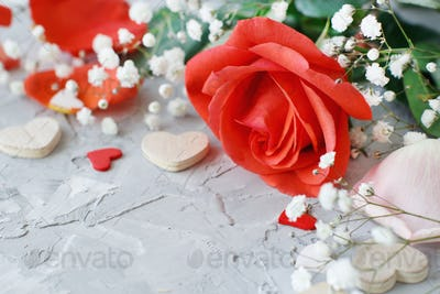 Red roses flowers, petals and hearts
