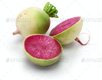 watermelon radish, chinese red meat radish