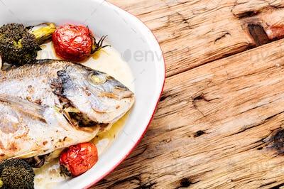 Baked in oven sea fish dorado