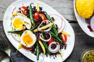 Riceberry with Soft boiled egg,Green bean,Radish and Cherry tomato