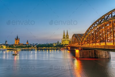 The river Rhine with the famous skyline of Cologne