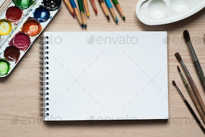 drawing tools on a desk