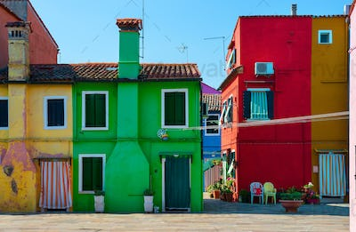 Facades of houses on Burano