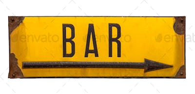Isolated Rustic Metal Sign For A Bar