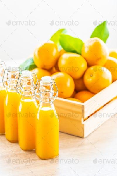 Fresh orange juice for drink in bottle glass
