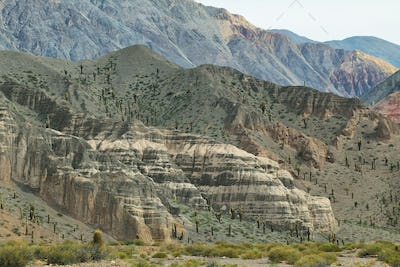 """View of curious mountains shapes in """"Quebrada del toro"""","""