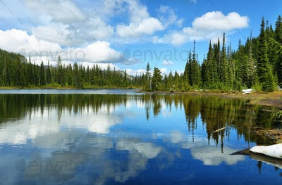Scenic view of reflection lake in Mount Rainier