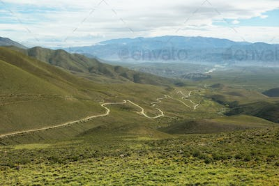 Valley and road going to the place known as Serrania del Hornocal